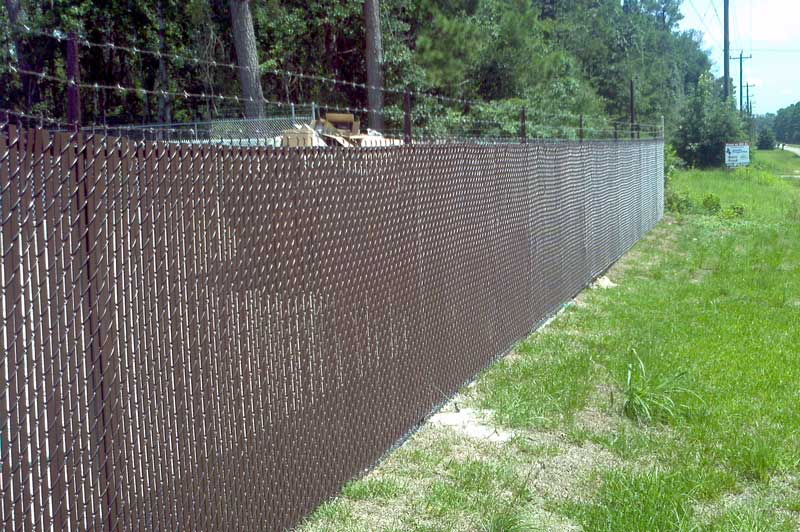 brown vinyl coated chain link with privacy slats - Chain Link Fence Slats